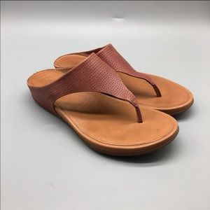 Fitflop brown perforated thong platform sandals